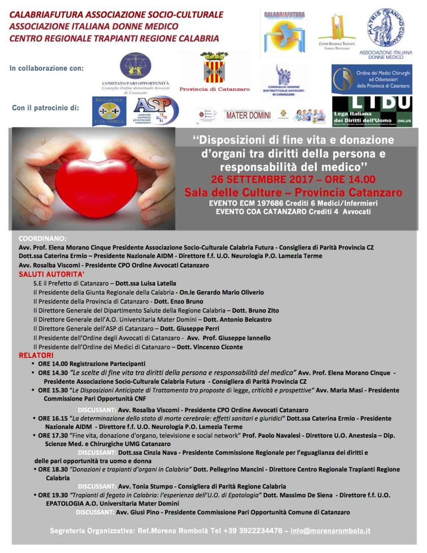 AIDM  26 SETTEMBRE  - Disposizioni di fine vita e donazione d'organi tra diritti della persona e responsabilità del medico