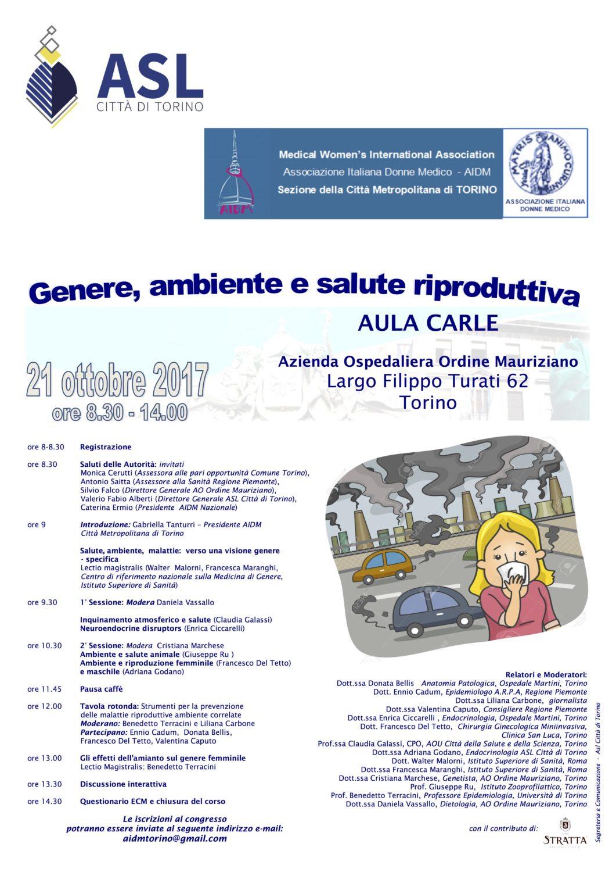 Locandina convegno 21 ottobre 2017 Genere Ambiente Salute riproduttiva - Locandina convegno 21 ottobre 2017 Genere Ambiente Salute riproduttiva